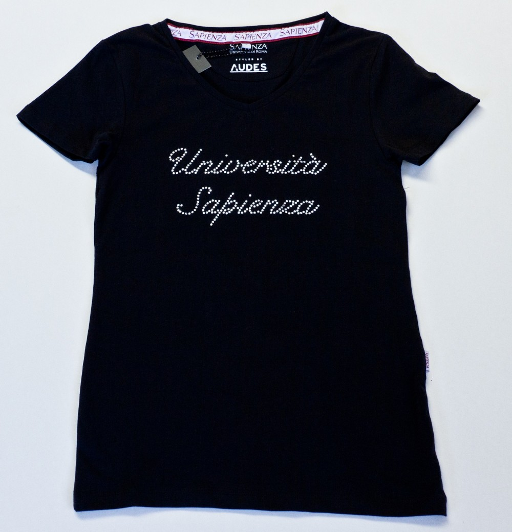 T-shirt Donna con strass - nero