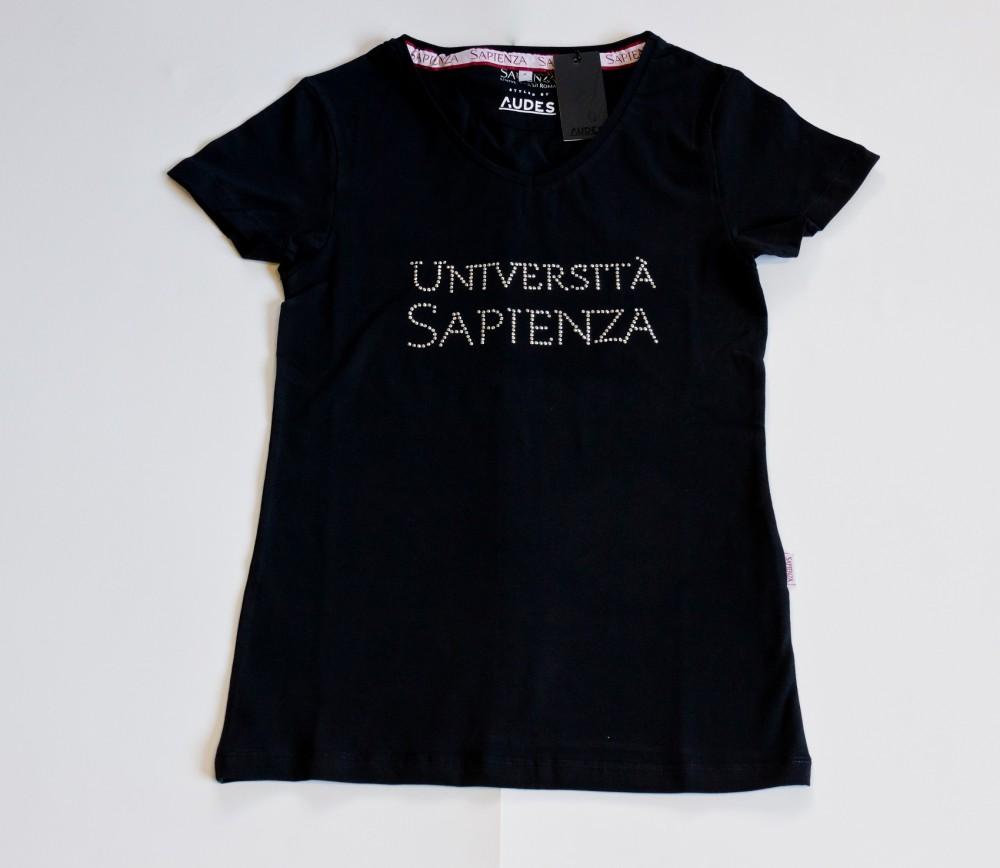 T-shirt Donna con strass - blu